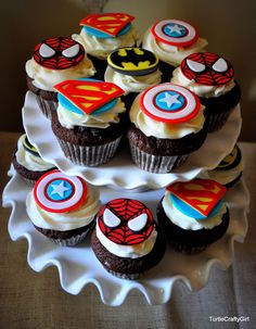 Perfect cupcakes for a superhero themed birthday party. Cute superhero cupcakes will surely give life to your child's birthday party. Superhero Birthday Cake, Avengers Birthday, Birthday Cupcakes, Boy Birthday, Superhero Party, Party Cupcakes, Birthday Ideas, Super Hero Birthday, Superhero Cupcake Toppers