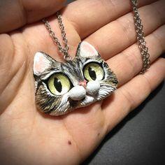 Custom order  Frappe  OOAK Kitty Cat Pendant by FleurDeLapin