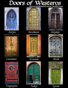 whatwouldkhaleesiwear:      sansainthenorth:    fauxkaren:    whatwouldkhaleesiwear:    The Doors of The Great Houses of Westeros  I posted this already but it was wayyy early in the day    #welcome to the fandom that sorts doors#…and does a rather good job too    Clegane.        LOL this addition to my original post