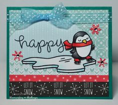 Lawn Fawn - Winter Penguin, Critters in the Arctic, Peace Joy Love paper _ card by Samantha C