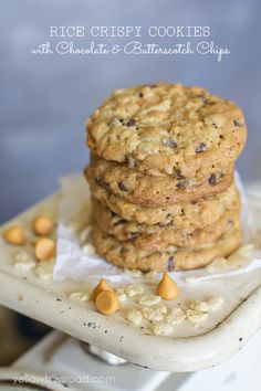 Rice Crispy Cookies with Chocolate & Butterscotch Chips...these are delicious!! Instead of the butter the recipe calls for I used 1cup of butter flavored crisco and 2 tablespoons of milk. I will definitely be making these again. YUM!!!