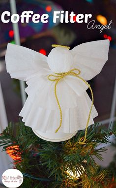 A Simple Coffee Filter Angel Christmas Tree Topper Craft for Kids to Make - Great Christmas decoration, and ornament. http://www.kidfriendlythingstodo.com