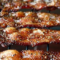 Sweet & Spicy Baked Bacon--Steph is always looking for bacon like what we get at Eskimo Joe's on their BLT. This may be it!