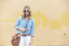 H Sunglasses, J.Crew Chambray Shirt, J Brand Jeans, Madewell Belt, Mulberry Bag, Nixon Watch, Zara Sandals