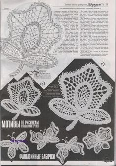 fashion magazines - crafts ideas - crafts for kids Crochet Butterfly, Crochet Birds, Crochet Art, Crochet Motif, Crochet Flowers, Crochet Stitches, Irish Crochet Tutorial, Irish Crochet Patterns, Crochet Designs