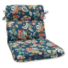 Pillow Perfect Telfair Peacock Outdoor Rounded Corners Hinged Chair Cushion