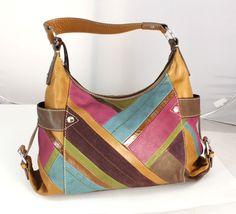 Fossil Multi Color Patchwork Leather Tote Hobo Shoulder Bag Purse Handbag   eBay