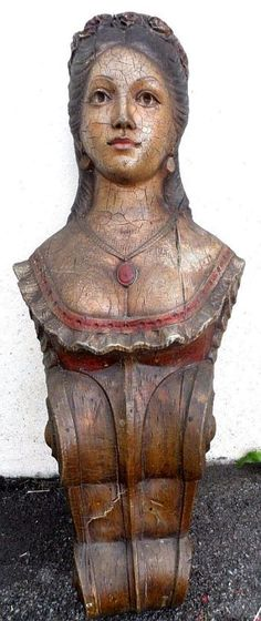 SHIP FIGUREHEAD WOMAN'S BUST FOLK ART NAUTICAL DECOR