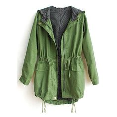 Hooded Elastic Green Trench Coat ($41) ❤ liked on Polyvore featuring outerwear, coats, jackets, romwe, trench coat, green trench coat, hooded trench coat, green hooded coat and green coat
