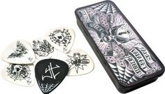 Dunlop James Hetfield Pick Tin with 6 Picks by Jim Dunlop. Save 34 Off!. $4.95. The art of Dirty Donny ushers in the trashing James Hetfield Signature Pick Tin with five picks featuring unique images inspired by the axe-wielding Metallica madman and one pick modeled after the one he uses on tour.