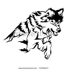 Silhouette tribal soar wolf jumping tattoo vector