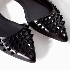 ZARA Woman BNWT Black Leather Ballerina Flats With Studs 1153/301 SOLD OUT