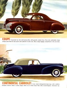 1940 Lincoln Zephyr Coupe and Continental Cabriolet
