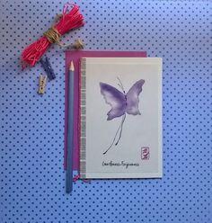 Energy card purple butterfly rice paper by DancingSoulshop on Etsy