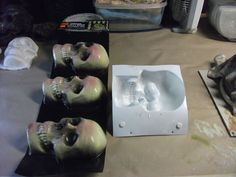 Skulls for PENNIES halloweendiy - plaster of paris