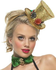 You'll be the luckiest woman at the casino tonight. Top off your Lady Luck costume with this fancy Mini Top Hat w/ Dice. It's the most adorable way to complete your lucky casino costume. Tema Las Vegas, Las Vegas Party, Casino Party, Casino Theme, Casino Night, Casino Wedding, Vegas Theme, Casino Dress, Casino Outfit