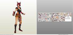 Papercraft .pdo file template for League of Legends - Ahri Foxfire.