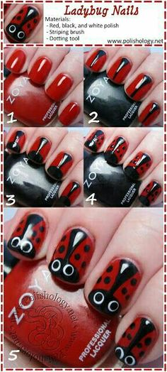 Ladybug Nail Art Tutorial Here is a cute idea. Lady Bug Nail so cute and fun. Trendy Nail Art, Cute Nail Art, Nail Art Diy, Easy Nail Art, Diy Nails, Cute Nails, Easy Art, Nail Art Original, Ladybug Nail Art