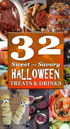 A delicious collection of 32 Sweet and Savory Halloween Treats & Drinks that are sure to ghoulishly tantalize your senses! Whip up one or all of your favorites for your Halloween Partay! Easy Halloween Food, Halloween Appetizers, Halloween Treats, Halloween Party, Best Dessert Recipes, Fun Desserts, Holiday Recipes, Delicious Recipes, Healthy Recipes