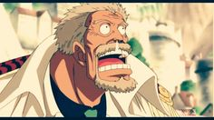 Monkey D. Garp suprised by the arrival of his grandson Luffy at Marineford.