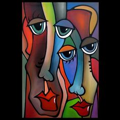 Art: Faces1170 2436 Original Abstract Art Painting Strangelove by Artist Thomas C. Fedro