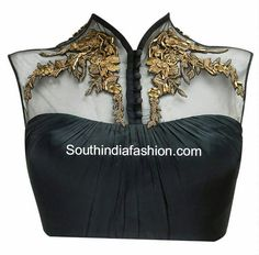 Trendy Net Blouse with Metallic Embroidery ~ Celebrity Sarees, Designer Sarees, Bridal Sarees, Latest Blouse Designs 2014 Choli Designs, Indian Attire, Indian Wear, Indian Blouse, Indian Dresses, Indian Outfits, Sari Bluse, Netted Blouse Designs, Net Blouses