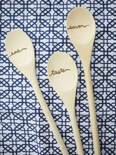Wood-Burned Spoons: Eat Taste Savor by Studio204Designs on Etsy