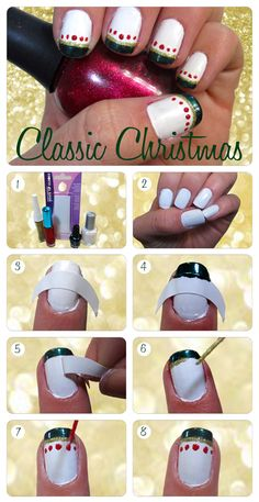 Red Dots with Green & Gold Stripes = Classic Christmas Nail Art