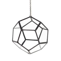 Give your succulents the sun they need in this  Dodecahedron Hanging Terrarium! Made from recycled windows these suspended gems come with 2 feet of chain for hanging. $75 www.mooreaseal.com