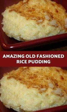 Hot Desserts, Homemade Desserts, Delicious Desserts, Dessert Recipes, Yummy Food, Custard Desserts, Breakfast Recipes, Homemade Rice Pudding, Rice Pudding Recipes