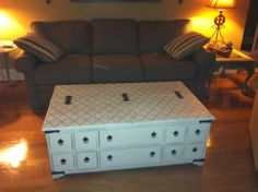 Trunk coffee table in Annie Sloan old white and stenciled in Graphite and old white mixed