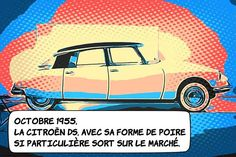 01 octobre 1955 ... La DS est présentée à Paris .... Une véritable révolution de l'automobile s'opère sous les yeux des visiteurs du salon de l'automobile de Paris : la Citroën DS. Dessinée par Flaminio Bertoni dans un souci d'aérodynamisme son design rompt radicalement avec la Traction qu'elle remplace. Mais les innovations technologiques sont également impressionnantes : suspension hydraulique feins à disques direction assistée... ... Le mythe s'amplifiera grâce à son rôle protecteur lors… Citroen Ds, Innovations Technologiques, Traction, Automobile, Paris, Vehicles, Design, Pear Shaped, Under Eyes