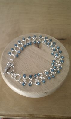blue bead chainmaille bracelet