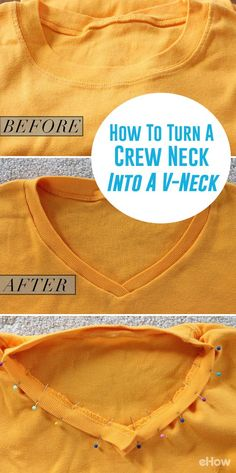 Many women choose a V-neck because it draws the eye up toward the face and creates a heart shape. It can also create an illusionary effect that elongates the body -- and who doesn't want that? Even if you're not an experienced sewer, you can transform your crew necks into flattering V-neck shirts in just a few simple steps. http://www.ehow.com/how_8777581_turn-crew-neck-tshirt-vneck.html?utm_source=pinterest.com&utm_medium=referral&utm_content=freestyle&utm_campaign=fanpage
