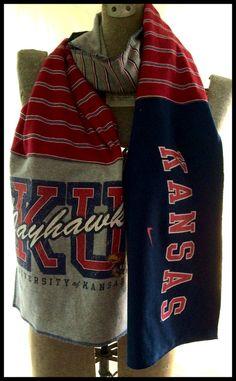Scarf KU KANSAS University JAYHAWKS Red Navy Blue by KFDesigns2, $30.00