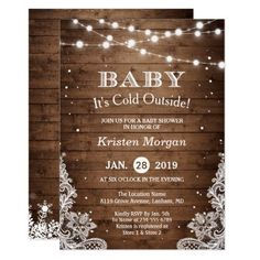 Baby Its Cold Outside Rustic Winter Baby Shower Card