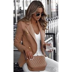 For Sale - Plus Size Fashion Double-breasted Blazer Suit Women Autumn Casual Long Sleeve Elegant Slim Solid Color Office Lady Workwear Blazers For Women, Suits For Women, Jackets For Women, Clothes For Women, Women Blazer, Long Blazer, Casual Blazer, Blazer Suit, Trench Coat Style