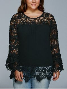 GET $50 NOW | Join RoseGal: Get YOUR $50 NOW!http://m.rosegal.com/plus-size-tops/lace-spliced-hollow-out-plus-729156.html?seid=7201960rg729156