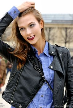 2ab80d1ddbc59 a) it s Karlie Kloss and b) Love her leather jacket blue shirt.