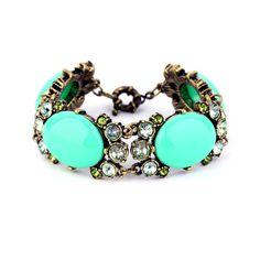 Jewelkick.com - Sea Scallop Bracelet - Beautiful mint green chunky stones w/ crystals $20