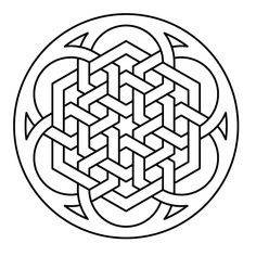 Celtic knot-work lute rosette hexagon by Peter Mulkers