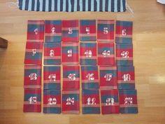 DIY Adventskalender, Zahlen, 1 bis 24, alle Säckchen fertig, Stoff von Ikea