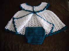 Crocheted Baby Dress with Diaper Cover & by GranniesCrocheting