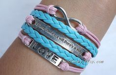 "Bracelet-"" where there's a will there's a way"" bracelet,infinity bracelet,LOVE bracelet-pink wax rope,light blue leather braided bracelet on Wanelo"