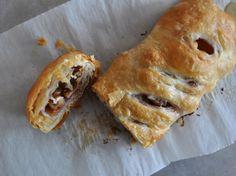 Peach Walnut Strudel (using puff pastry) Nectarine Dessert, Just Desserts, Dessert Recipes, Vegan Desserts, Dessert Ideas, Brunch Recipes, Peach Puff Pastry, Strudel Recipes, Baked Peach