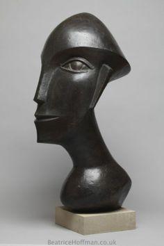 Bronze-resin Contemplative, Meditative, Pondering, Thoughtful, Peaceful, #sculpture by #sculptor Beatrice Hoffman titled: 'Racerman (Bronze resin Abstract Head Sculptures)' #art