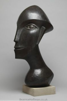 Bronze-resin Contemplative, Meditative, Pondering, Thoughtful, Peaceful, #sculpture by #sculptor Beatrice Hoffman titled: 'Racerman (Bronze resin Abstract Head Sculptures)' #art