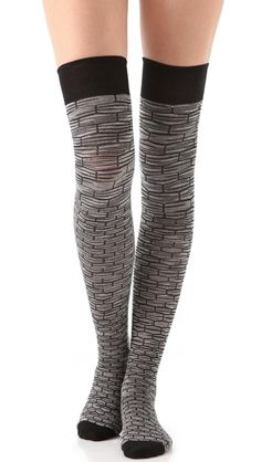 Missoni Thigh High Socks... just got these, and are perfect for wearing under tall boots. The solid black looks good w/ a shorter skirt,  but I can't see myself hand washing as suggested.  Thanks SB!