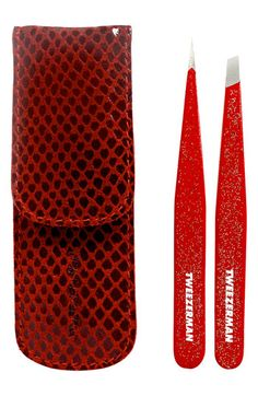 TWEEZERMAN 'Petite #Tweeze - Red Glitter' Set #Nordstrom #Holiday #Gift