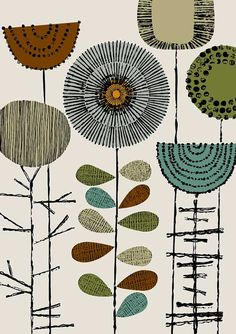 Embroidery Flowers Khaki limited edition giclee by EloiseRenouf